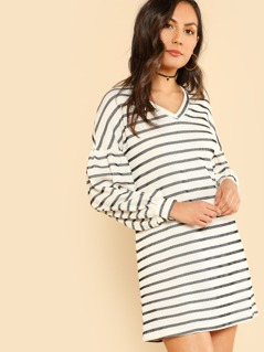 Striped Ribbed Long Sleeve Dress IVORY