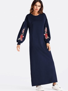 Balloon Sleeve Embroidered Applique Dress