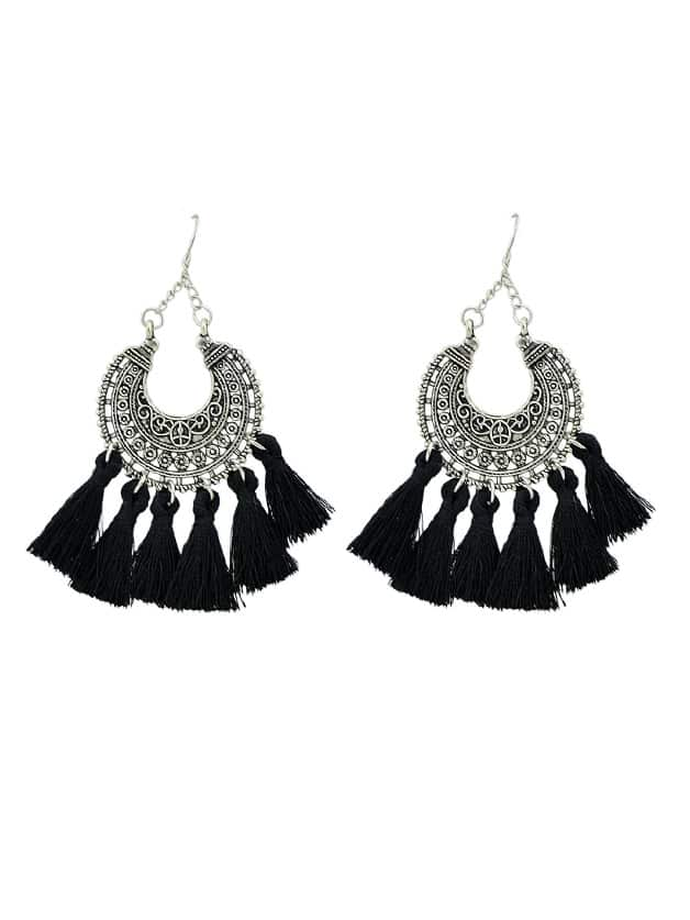 Black Horns Shape With Long Tassel Drop Ethnic Earrings