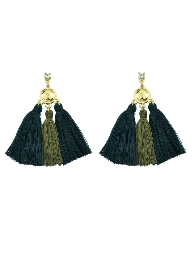 Green Bohemian Style Ethnic Tassel Statement Drop Earrings ethnic hollow out statement drop earrings