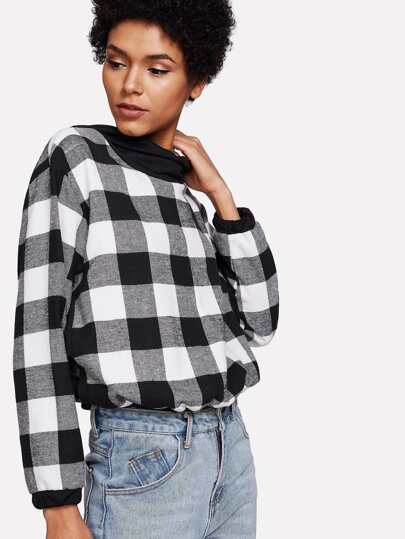 Plaid Sweatshirt mit Kapuze