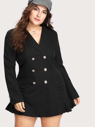 V Neckline Double Breasted Ruffle Hem Blazer Dress