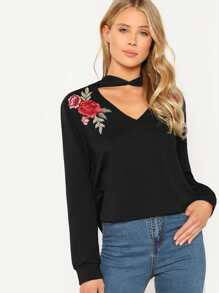 Rose Patch V-Cutout Hoodie