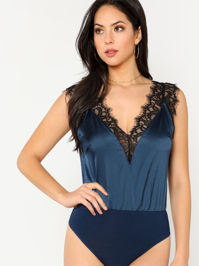 Dual V Neck Contrast Lace Trim Bodysuit