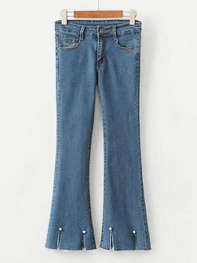 Faux Pearl Detail Slit Cuff Flared Jeans
