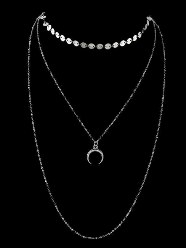 Silver Boho Chic Multi Layer Chain Horns Pendant Necklace chic tassels decorated triangle pendant double layer necklace for women