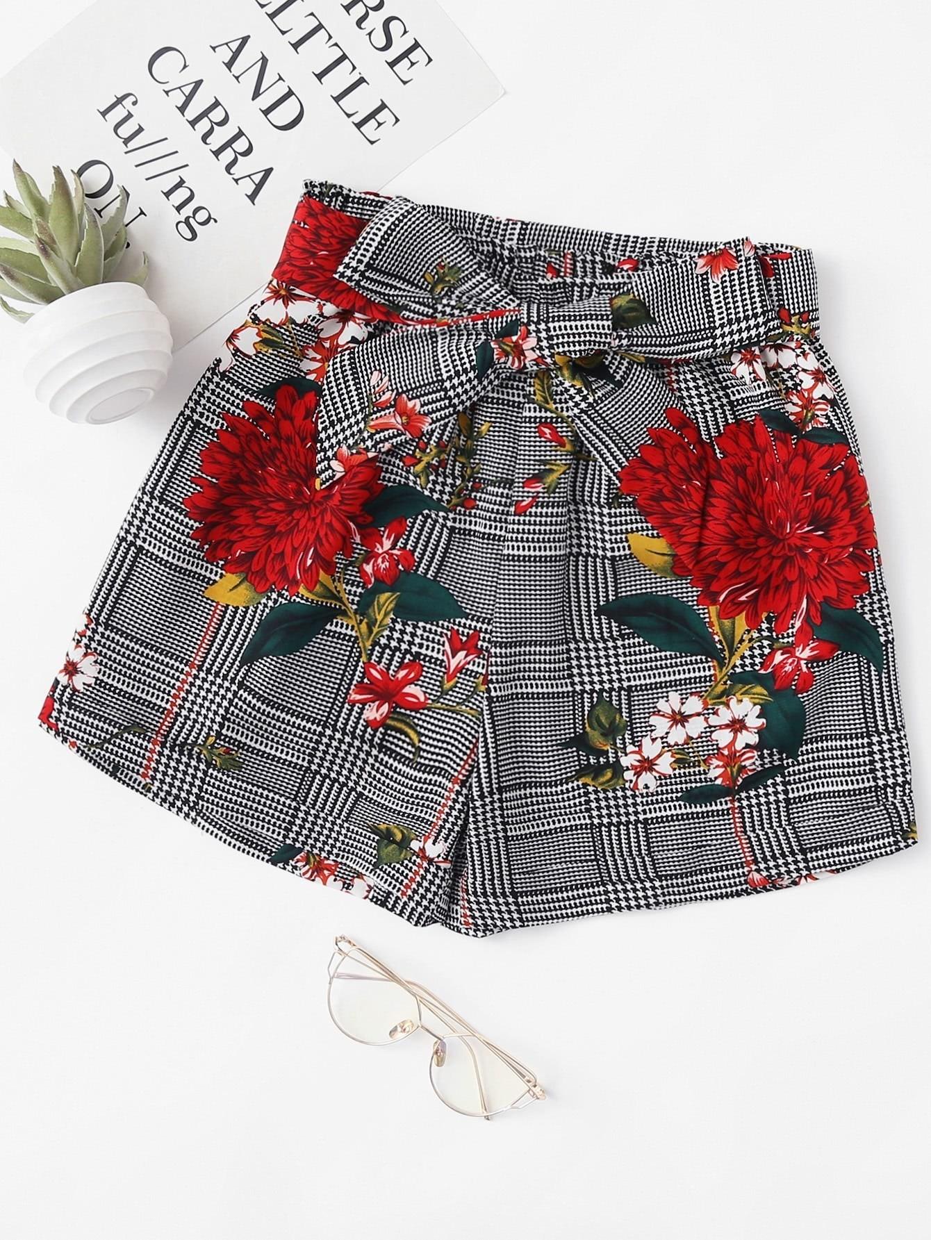 Купить Модные шорты с поясом и цветочным принтом, null, SheIn
