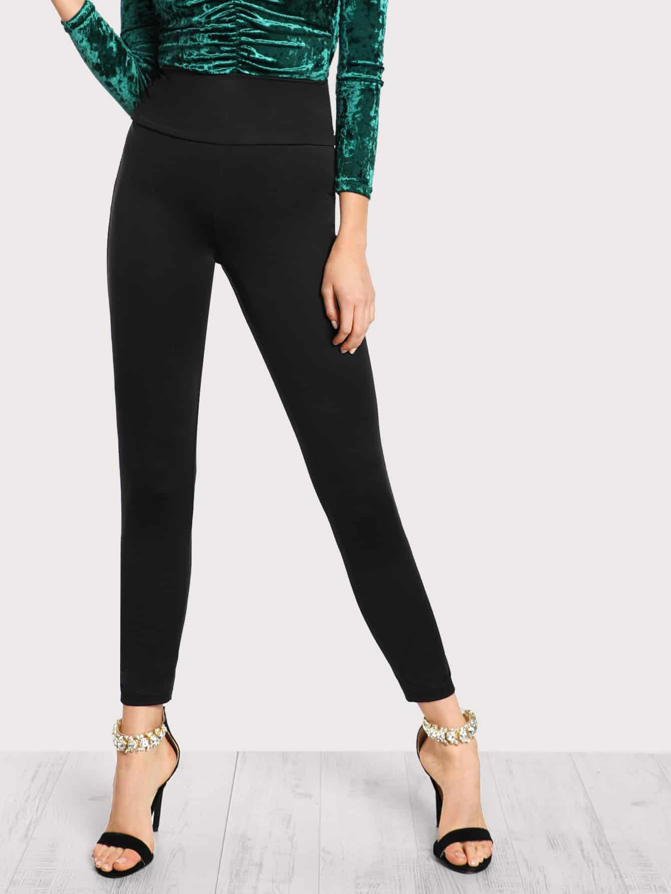 Wide Waistband Solid Leggings