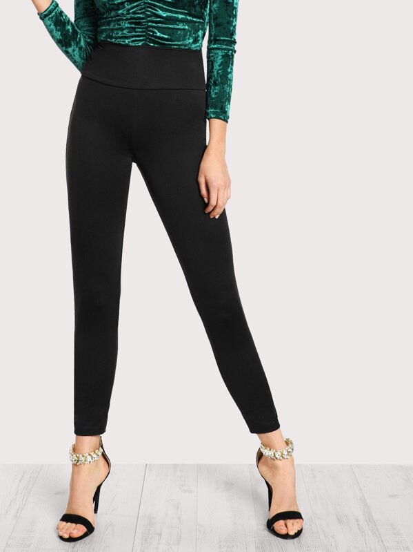 Wide Waistband Solid Leggings, Alanna Whittaker