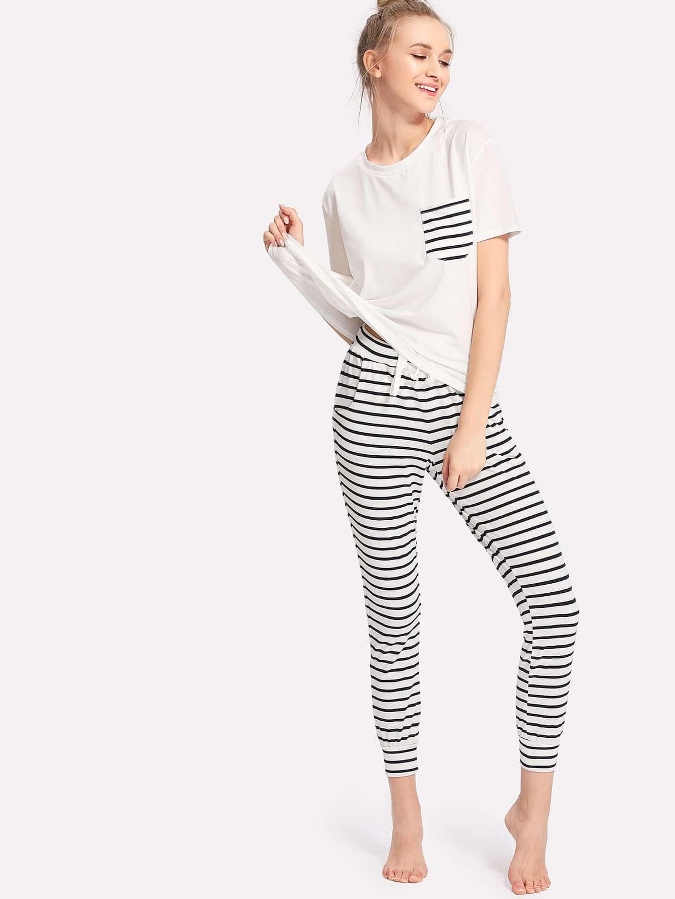 Patch Pocket Tee And Striped Pants PJ Set