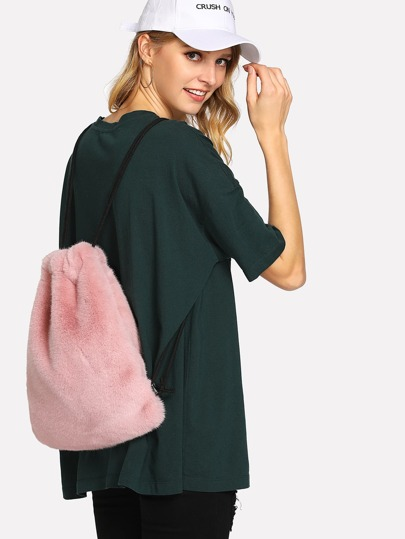 Faux Fur Drawstring Bag
