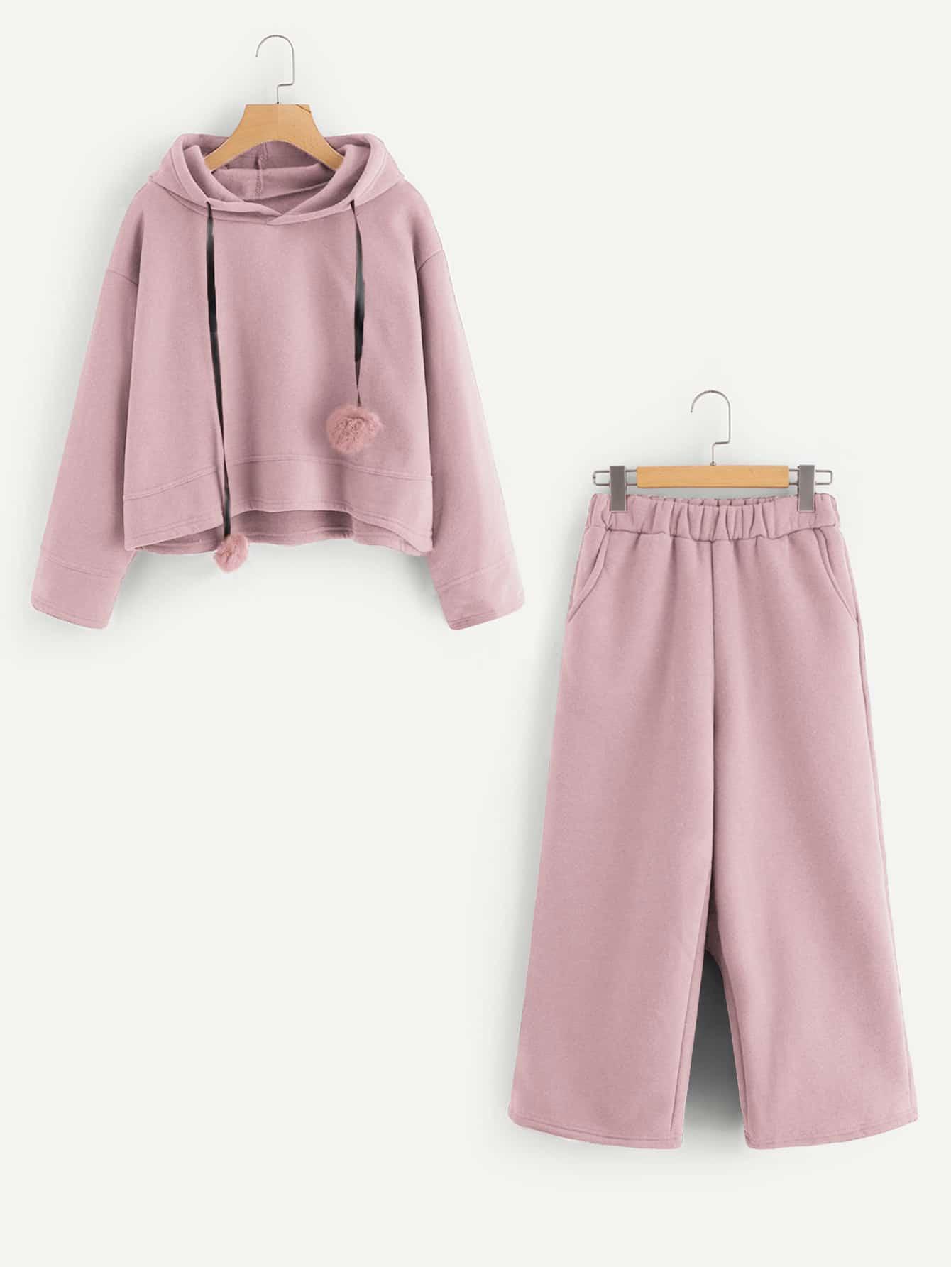 Pom Pom Detail Hoodie And Pants pom pom detail cami and shorts set