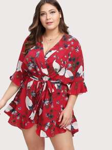 Self Belted Mixed Print Romper