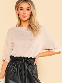 Drop Shoulder Pearl Beading Glitter T-shirt