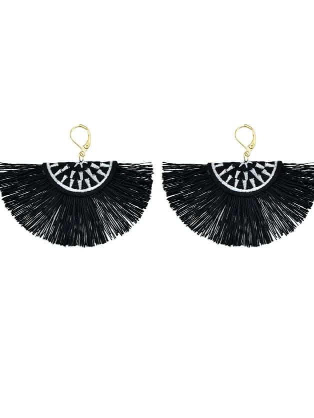 Black Handmade Ethnic Jewelry Boho Style Fan Shaped Earrings rhinestone feather fan shaped boho jewelry earrings
