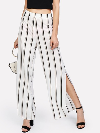 Split Side Striped Pants