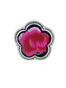 Red Handmade Embroidery Flower Finger Rings