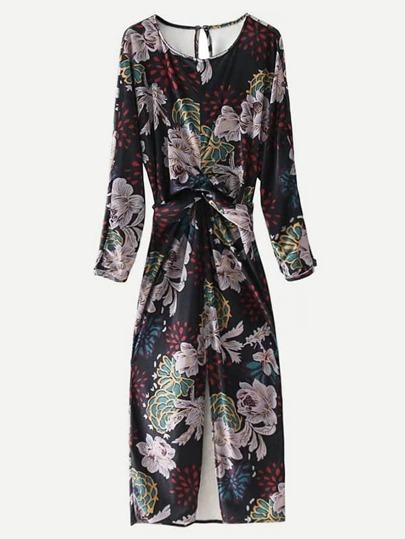 Floral Print Twist Velvet Dress