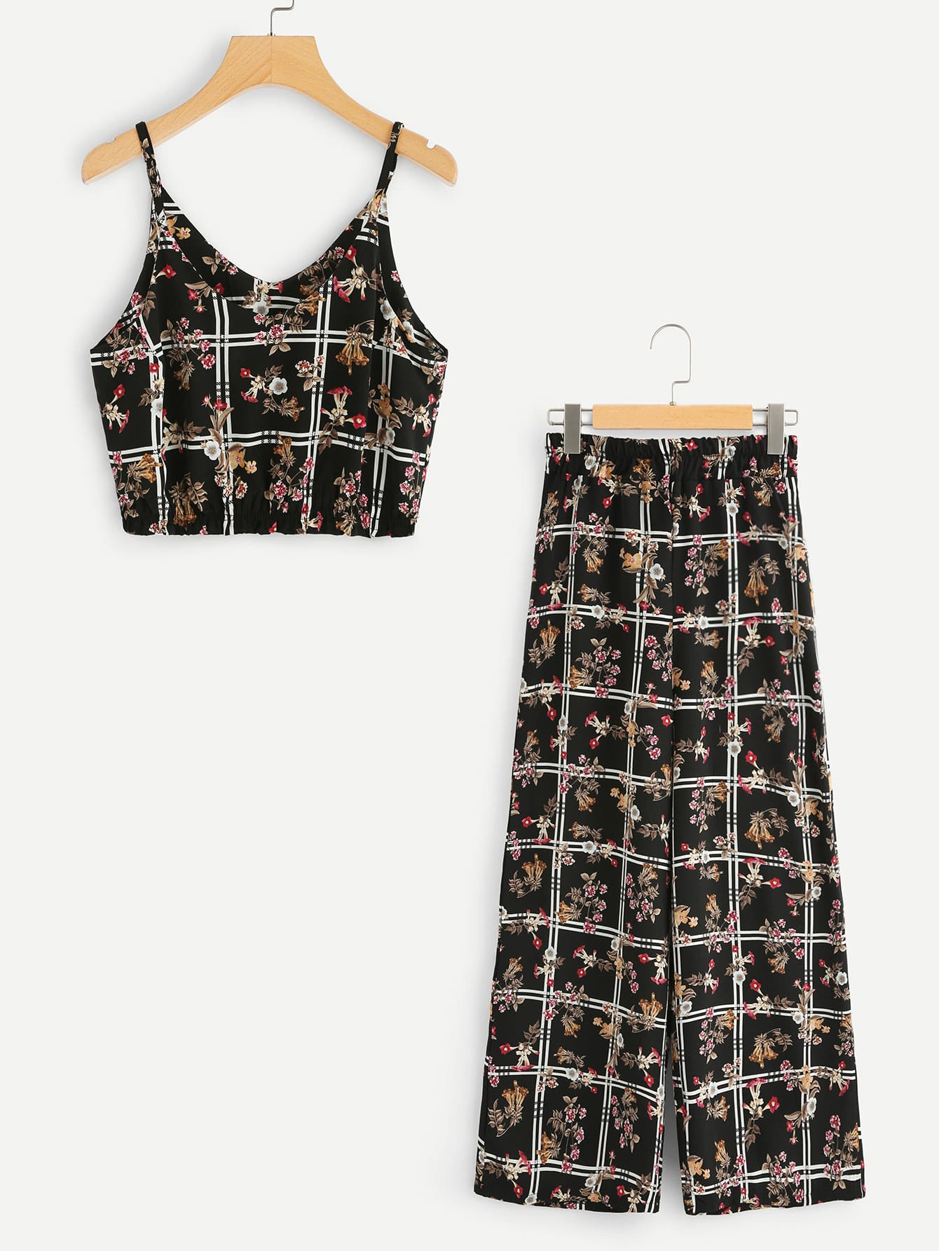 Floral Print Crop Cami Top With Wide Leg Pants hollow out crop top with high waist wide leg pants