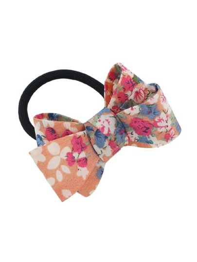 Orange Elastic Rope With Colorful Flower Pattern Bowknot Headbands Hair Accessories