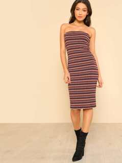 Solid Striped Tube Dress WINE