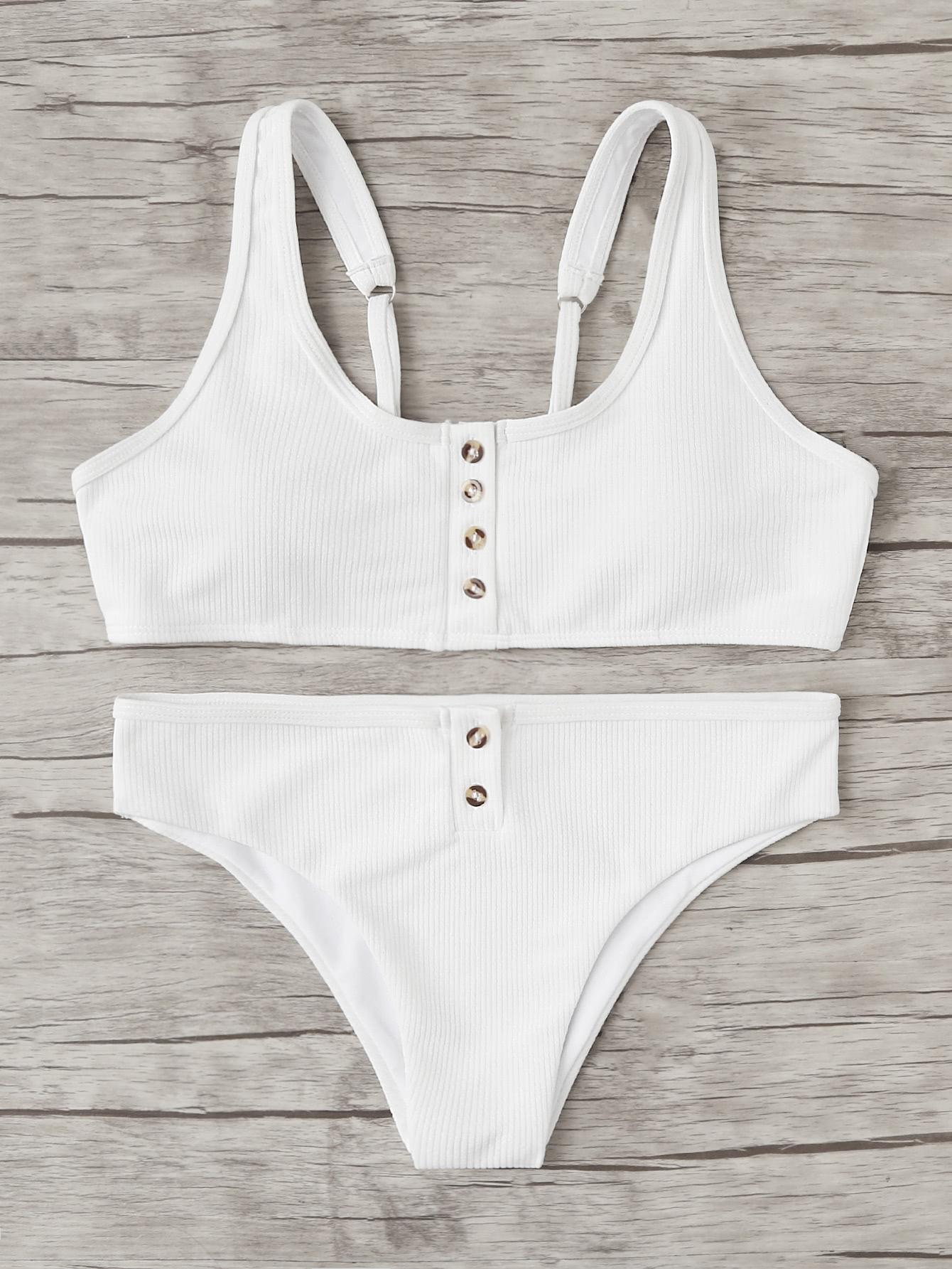 Button Front Bikini Set