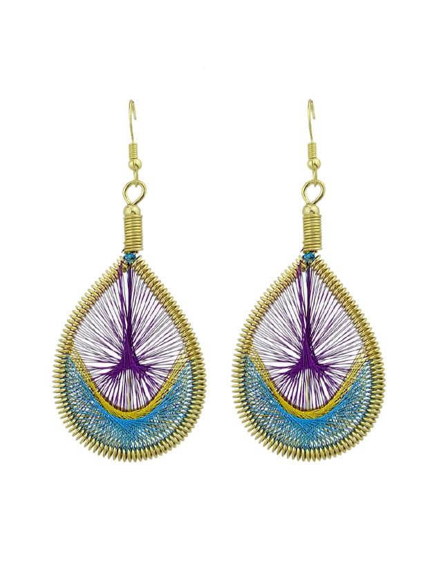 Purple Colorful Rope Handmade Braided Wate Drop Hanging Earrings medallion colorful beaded drop earrings