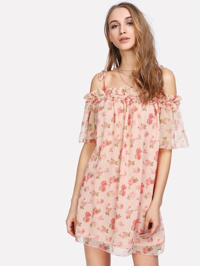 Tie Shoulder Frill Trim Floral Dress