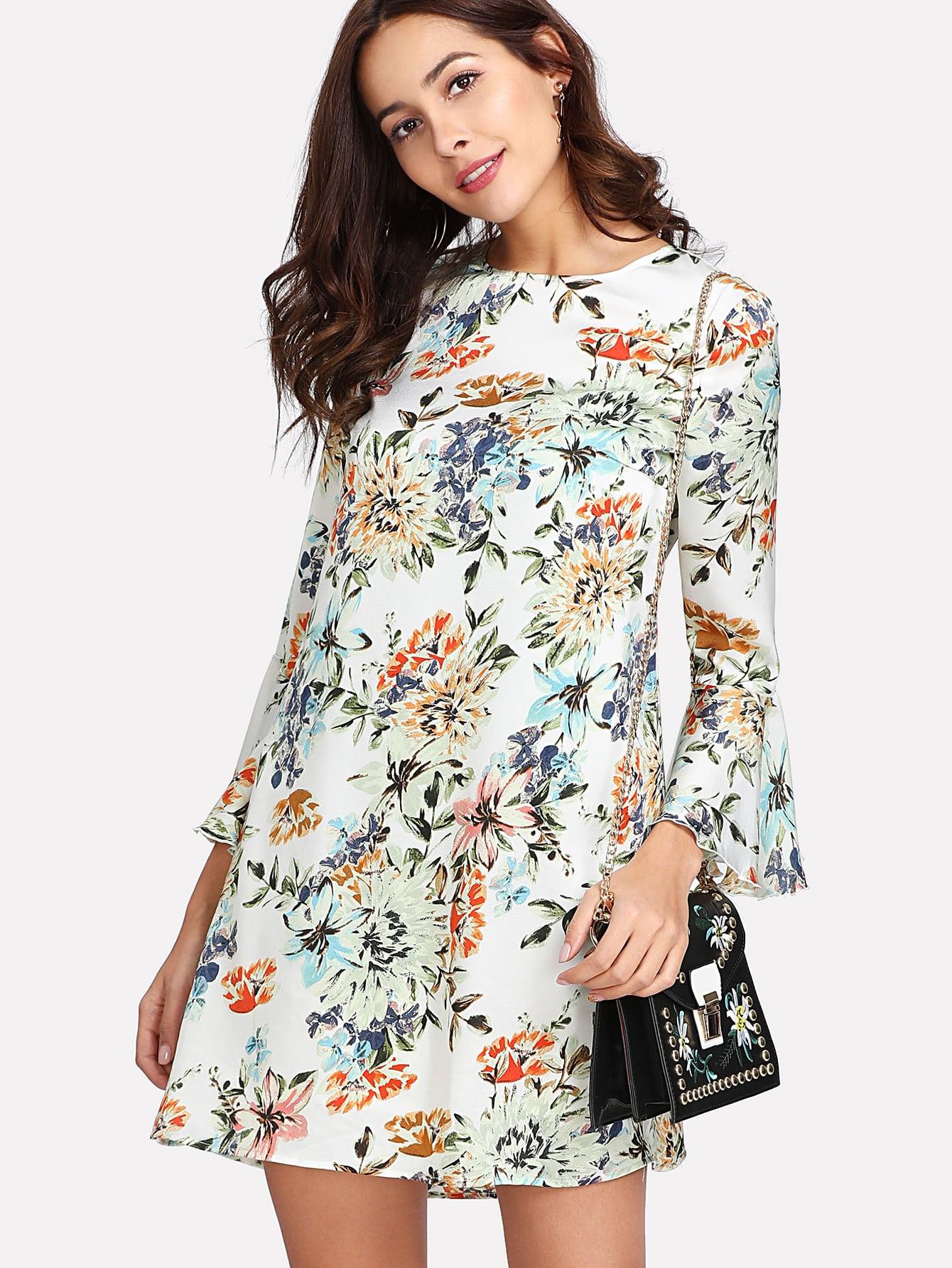 Allover Botanical Print Flounce Sleeve Dress allover bear print dress