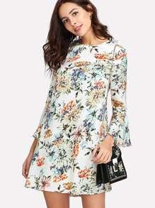Allover Botanical Print Flounce Sleeve Dress
