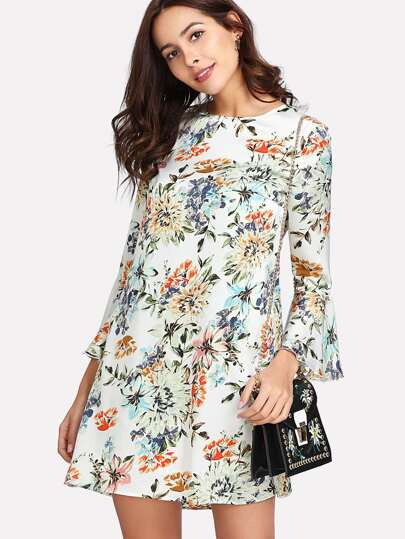Allover Botanical Print Flounce Sleeve Dress