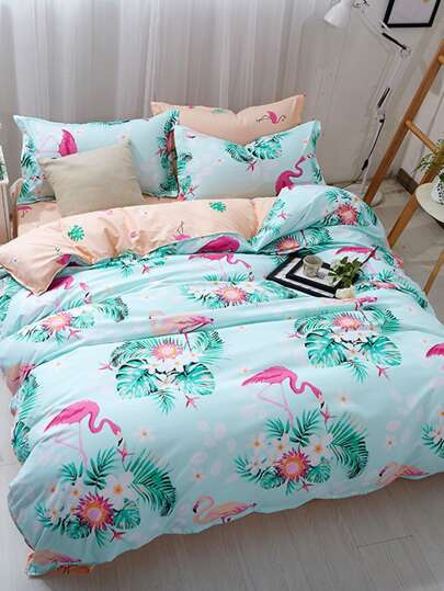 2.2m 4Pcs Flamingo & Letter Print Bedding Set