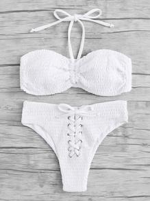 Lace Up Ruched Bikini Set