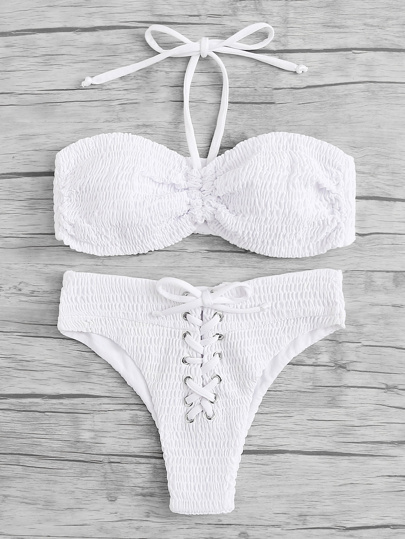 Lace Up Ruched Bikini Set