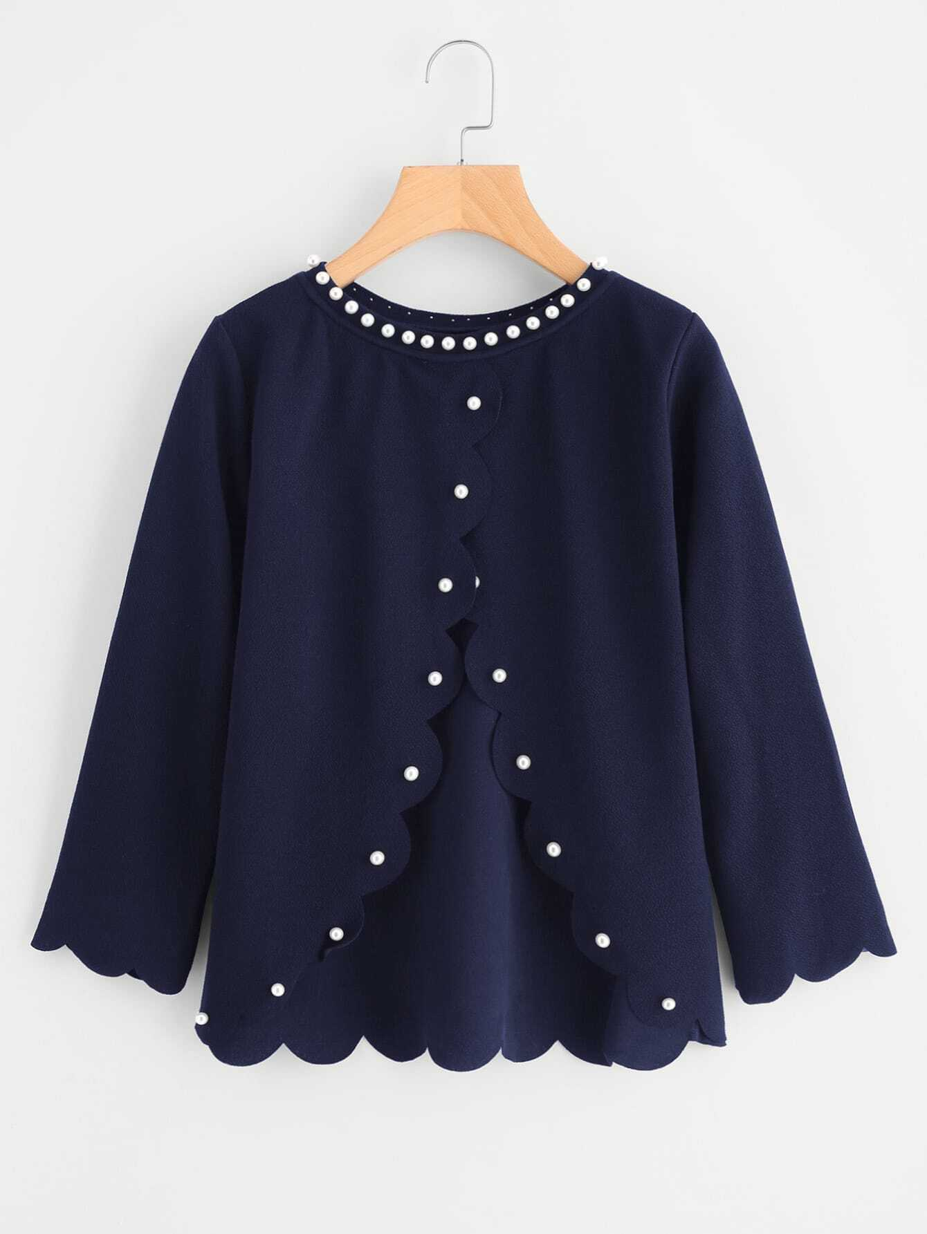 Pearl Beading Overlap Back Scalloped Top pearl beading layered sleeve top