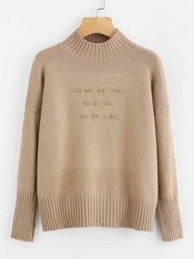 Slogan Pattern Drop Shoulder Jumper