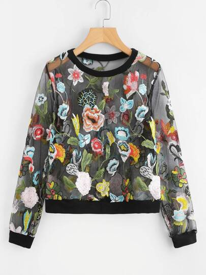 Botanical Embroidered Mesh Pullover