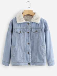 Faux Shearling Lined Denim Jacket