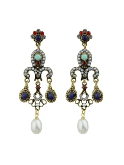 Retro Palace Style Beads Simulated-Pearl Chandeliers Dangle Earrings