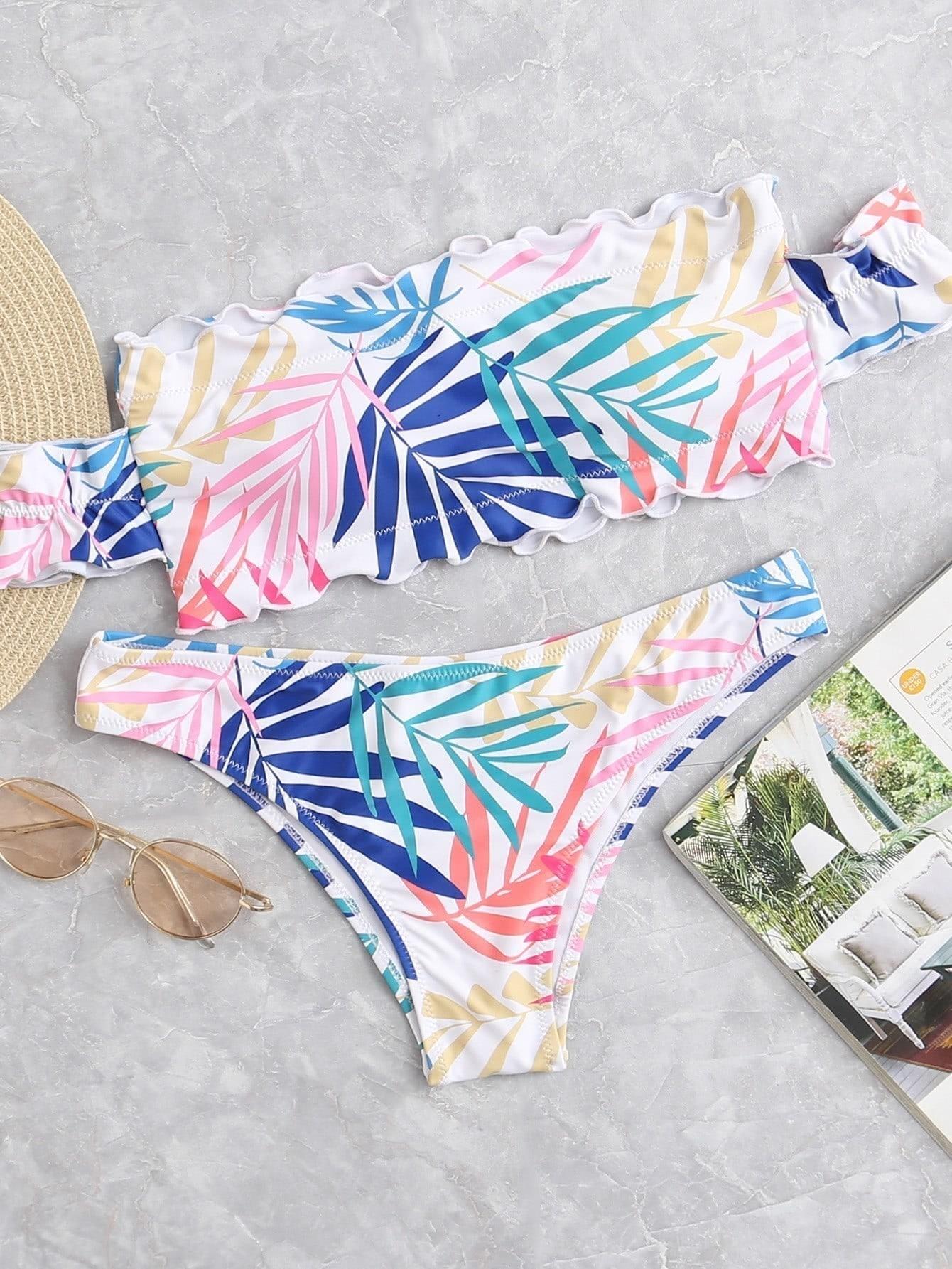 Фото Leaf Print Ruffle Hem Bikini Set checker knot bikini set