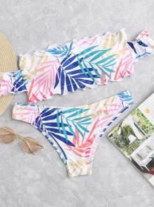 Leaf Print Ruffle Hem Bikini Set