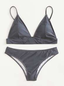 Adjustable Strap Triangle Bikini Set