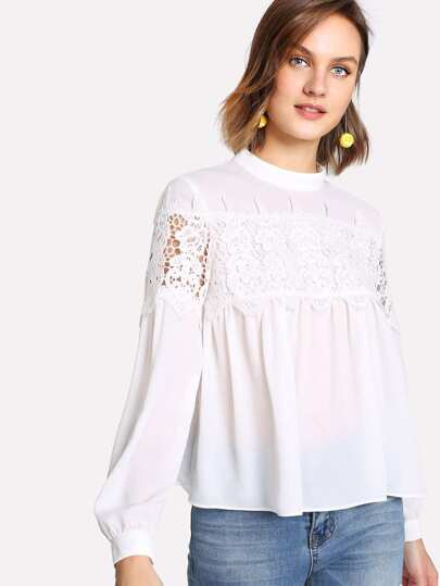 Floral Lace Panel Smock Top