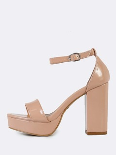 Patent Ankle Strap Chunky Heels NUDE