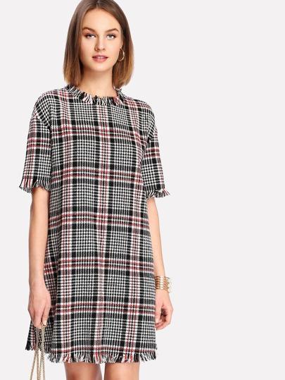 Frayed Trim Houndstooth Tweed Dress