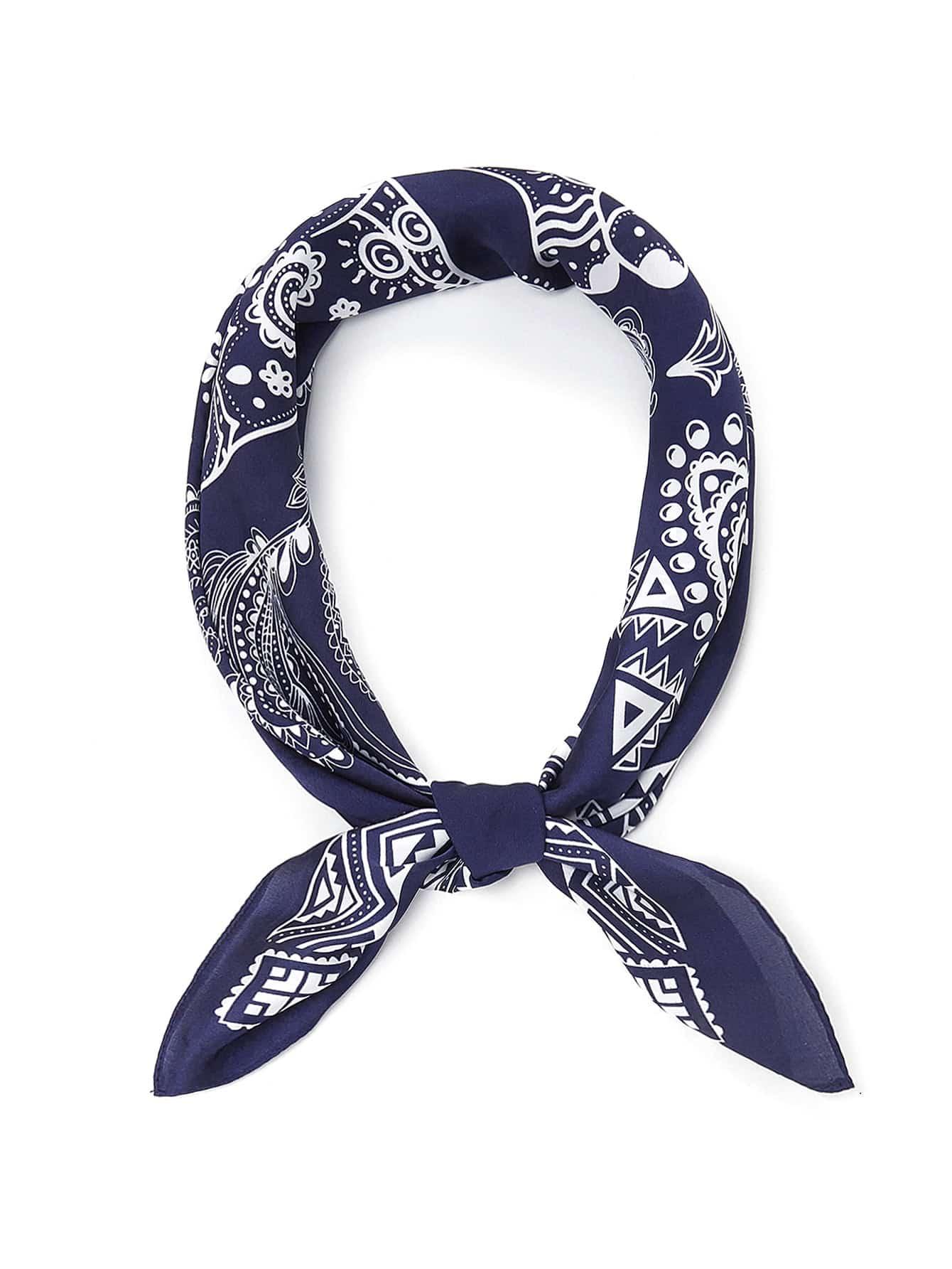 Mixed Print Bandana Scarf color block geometric bandana scarf