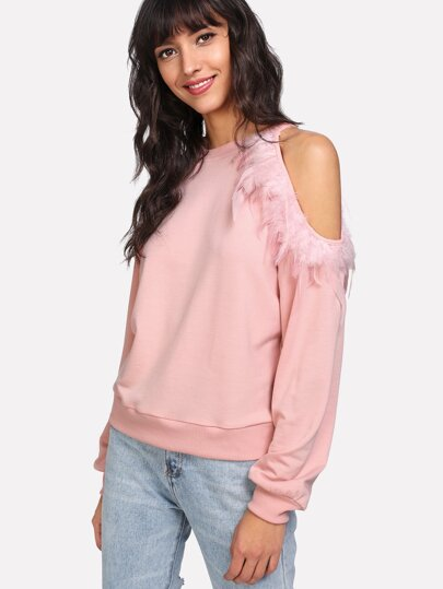 Feather Embellished Cutout Shoulder Sweatshirt