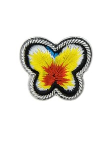 Yellow Handmade Embroidery Butterfly Finger Ethnic Rings