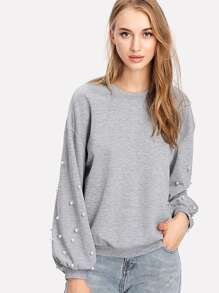 Pearl Beaded Drop Shoulder Pullover
