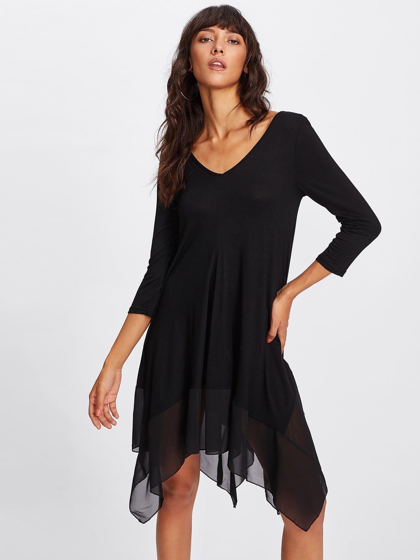 Contrast Mesh Hanky Hem Dress high slit hanky hem metallic halter dress